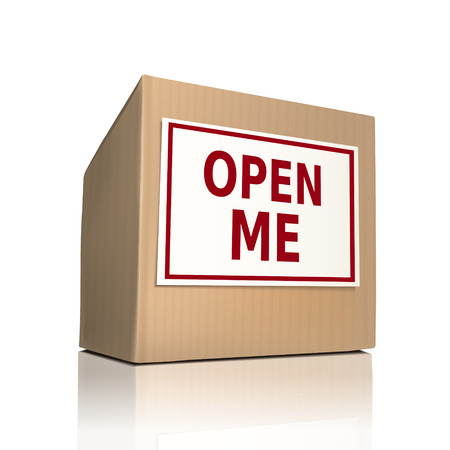 open me on a paper box over white background Vector