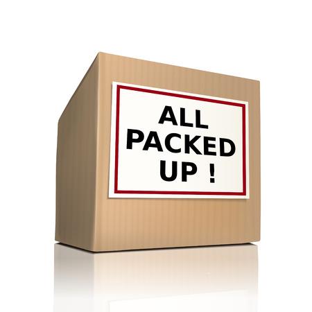 over packed: le parole tutti confezionati su una scatola di carta su sfondo bianco