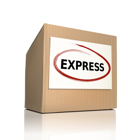 crucial: the word express on a paper box over white background Illustration