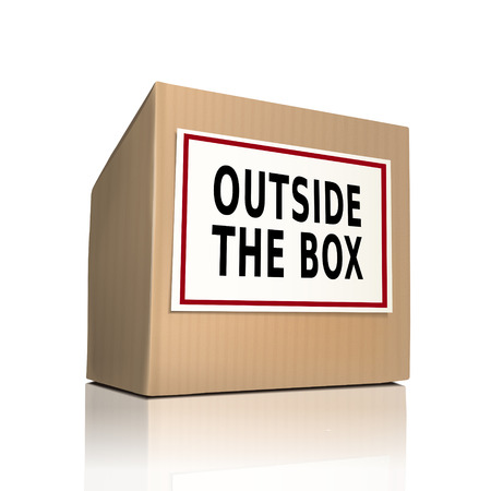 problemsolving: outside the box on a paper box over white background