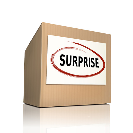 problemsolving: surprise on a paper box over white background