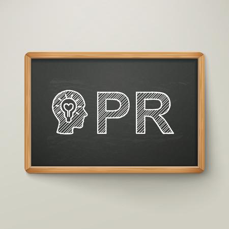 pr: PR on blackboard in wooden frame isolated over grey