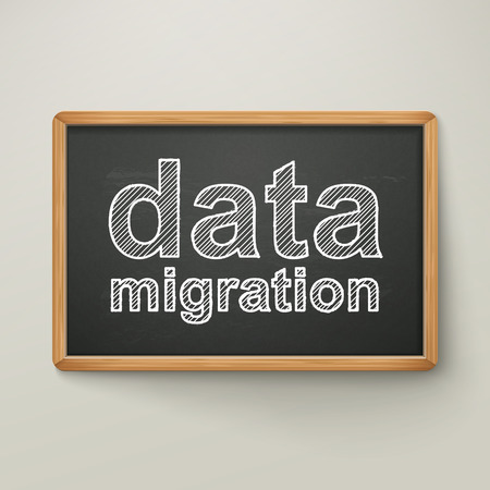 data migration on blackboard in wooden frame isolated over grey 일러스트