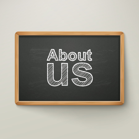 about us: about us on blackboard in wooden frame isolated over grey