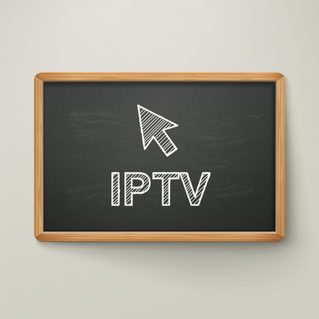 internet class: Internet Protocol Television on blackboard in wooden frame isolated over grey Illustration