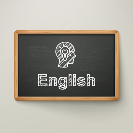 english on blackboard in wooden frame isolated over grey
