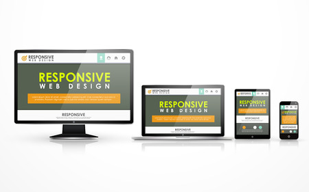 flat screen tv: responsive web design concept in flat screen TV, tablet, smart phone and laptop