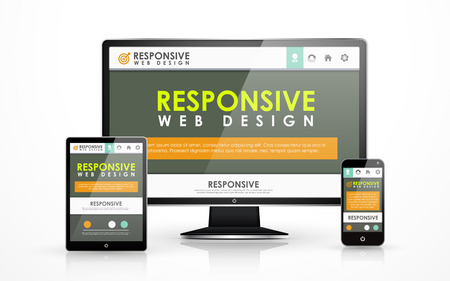 responsive web design: responsive web design concept in flat screen TV, tablet and smart phone  Illustration