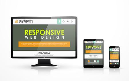flat screen tv: sensible concepto de dise�o web en televisores de pantalla plana, tableta y tel�fono inteligente