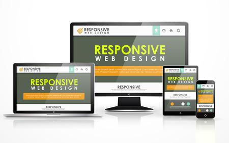 flat screen tv: sensible concepto de dise�o web en TV de pantalla plana, tableta, tel�fono inteligente y port�til