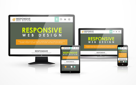 responsive web design concept in flat screen TV, tablet, smart phone and laptop Stock Vector - 30518816