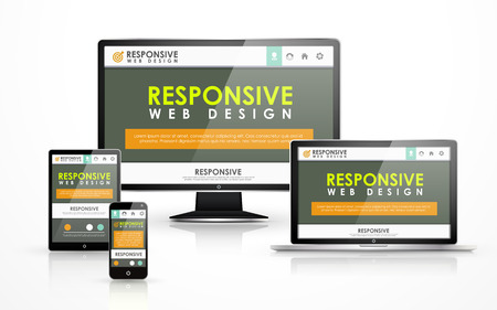 responsive web design concept in flat screen TV, tablet, smart phone and laptop