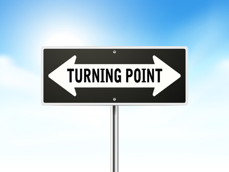 turning point: turning point on black road sign isolated over sky  Illustration