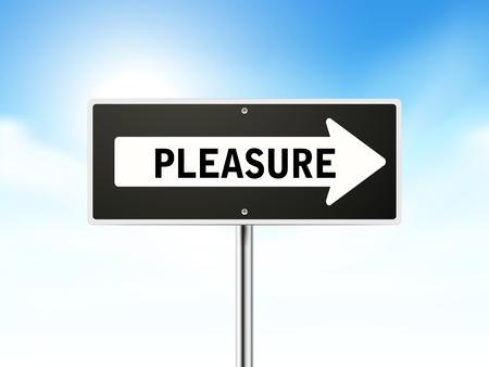gleeful: pleasure on black road sign isolated over sky  Illustration