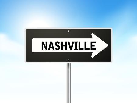 nashville: Nashville on black road sign isolated over sky