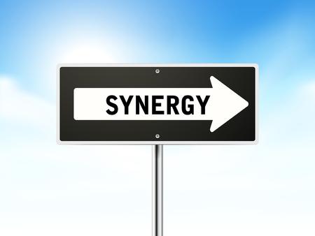 synergie: Synergien auf schwarzem Schild isoliert �ber Himmel