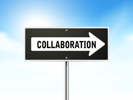 synergism: collaboration on black road sign isolated over sky  Illustration