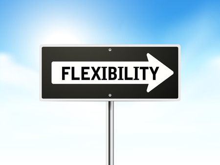 flexibility: flexibility on black road sign isolated over sky  Illustration