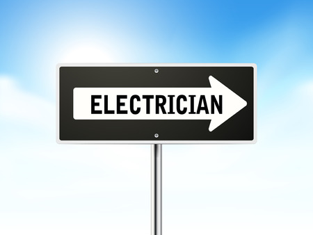 sinal de estrada: electrician on black road sign isolated over sky