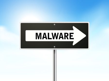 malware: malware on black road sign isolated over sky