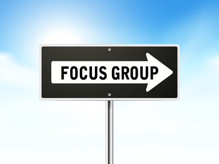 focus group: focus group on black road sign isolated over sky