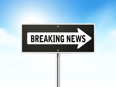 breaking news on black road sign isolated over sky  Vector