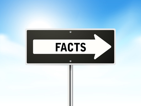 actuality: facts on black road sign isolated over sky