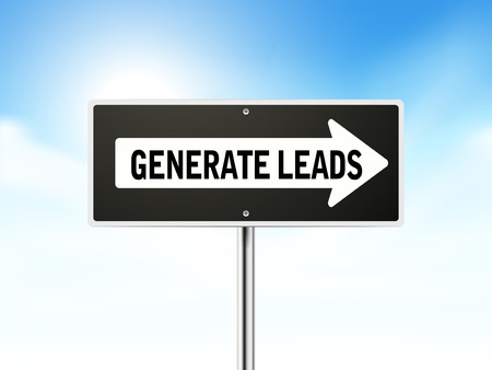 generate: generate leads on black road sign isolated over sky