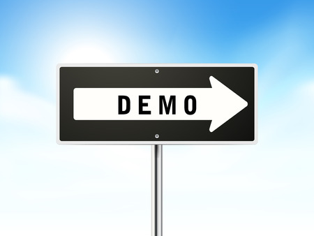 demo: demo on black road sign isolated over sky