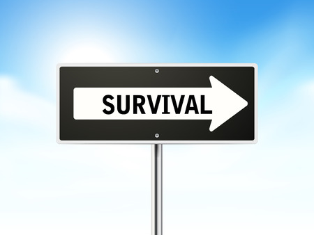 survival: survival on black road sign isolated over sky