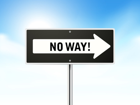 no way: no way on black road sign isolated over sky
