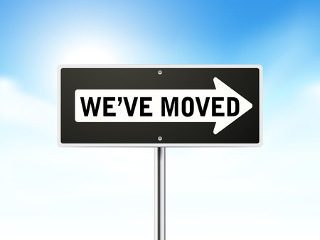 migrate: we have moved on black road sign isolated over sky