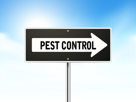 pest control on black road sign isolated over sky  Illustration
