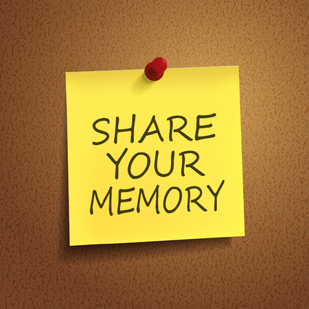 thumb tack: share your memory words on post-it over brown background