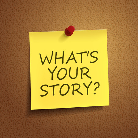 what is your story words on post-it over brown background