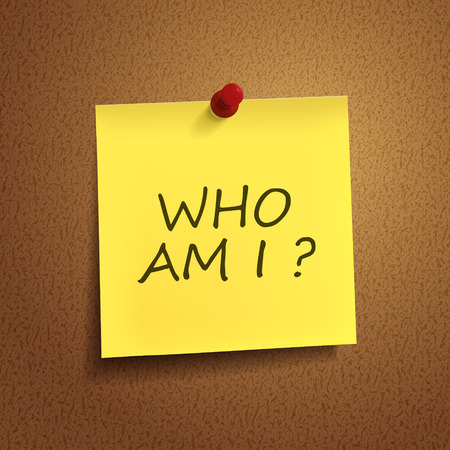 who am I words on post-it over brown background Vector