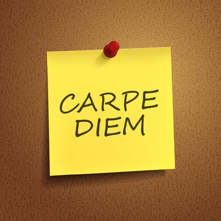 carpe diem: carpe diem words on post-it over brown background