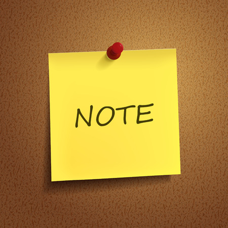 postit note: note word on post-it over brown background