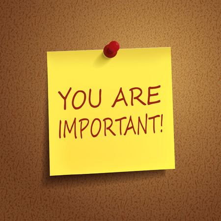 notice board: you are important words on post-it over brown background