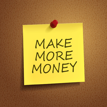 thumb tack: make more money words on post-it over brown background