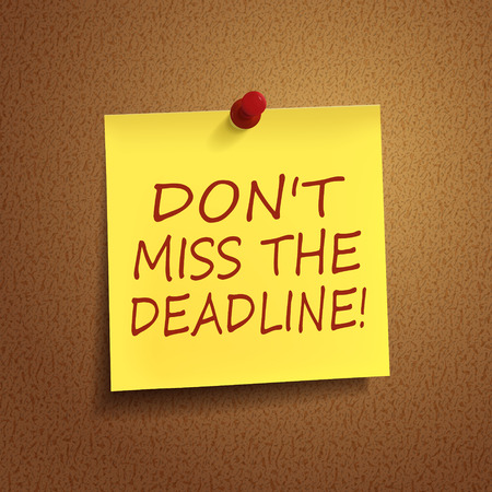 miss: do not miss the deadline words on post-it over brown background