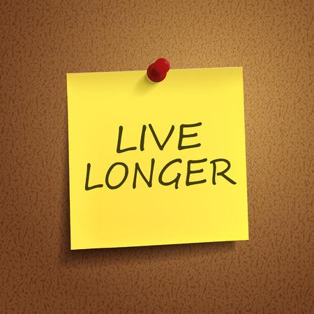 longer: live longer words on post-it over brown background