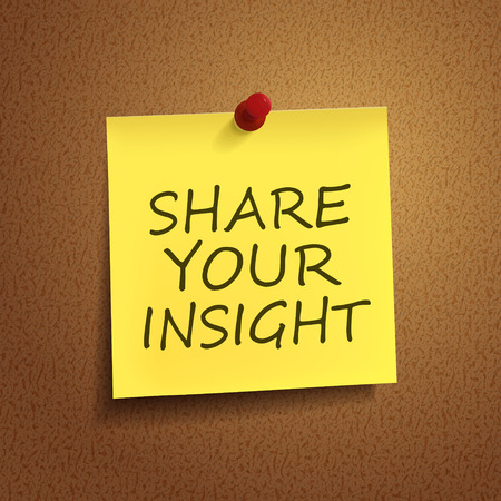 insight: share your insight words on post-it over brown background