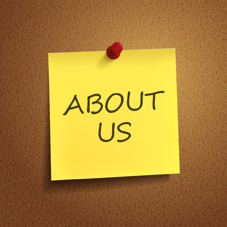 about us words on post-it over brown background Vector