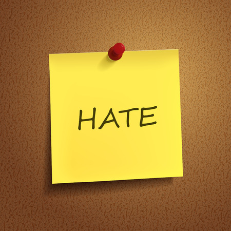 hate: hate word on post-it over brown background