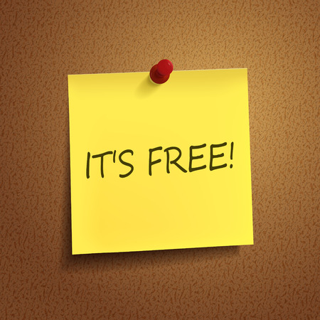it is free words on post-it over brown background Vector