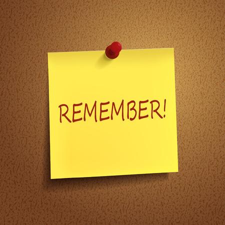 recordar: recordar la palabra en el post-it sobre fondo marrón