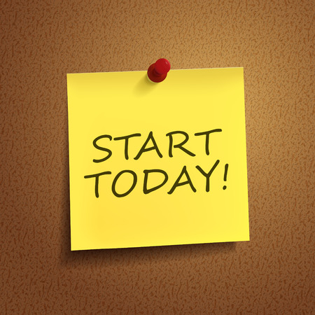 start today words on post-it over brown background Vector