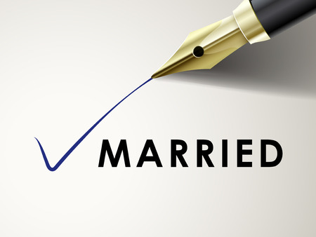 mark pen: the word married on paper with fountain pen drawing a mark