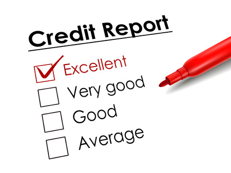 credit report: tick placed in excellent check box with red pen over credit report Illustration